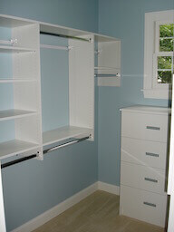 White Closet Double Hang Shelves Drawers
