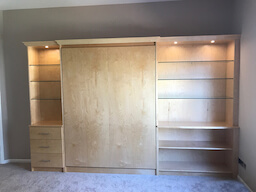 Murphy Bed with Storage, Glass Shelves, Lighting